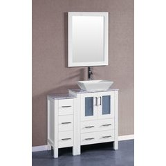 "36"" AW124 Single Vanity w/ Carrara White Top-White"