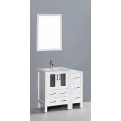 "36"" AW124 Single Vanity w/ White Ceramic Top-White"