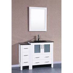 """42"""" AW130 Single Vanity w/ Tempered Glass Top-White"""