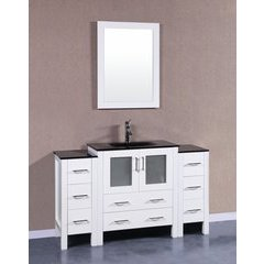 """54"""" AW130 Single Vanity w/ Tempered Glass Top-White"""