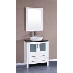 "30"" AW130 Single Vanity w/ Tempered Glass Top-White"