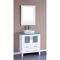 """30"""" AW130 Single Vanity w/ Tempered Glass Top-White"""