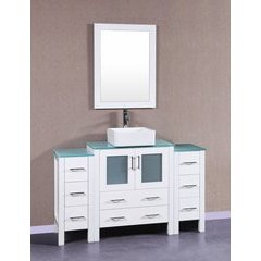"54"" AW130 Single Vanity w/ Tempered Glass Top-White"