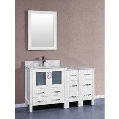 "54"" AW130 Single Vanity w/ Carrara White Top-White"