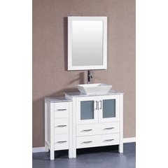 "42"" AW130 Single Vanity w/ Carrara White Top-White"