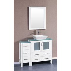 "42"" AW130 Single Vanity w/ Tempered Glass Top-White"