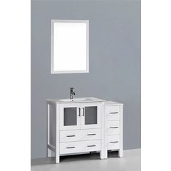 "42"" AW130 Single Vanity w/ White Ceramic Top-White"