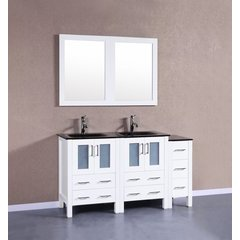 "60"" AW224BGU1S Double Vanity w/ Tempered Glass Top-White"