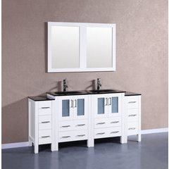 "72"" AW224BGU2S Double Vanity w/ Tempered Glass Top-White"