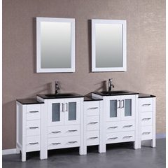 "84"" AW224BGU3S Double Vanity w/ Tempered Glass Top-White"
