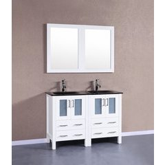 "48"" AW224BGU Double Vanity w/ Tempered Glass Top-White"