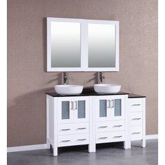 "60"" AW224BWLBG1S Double Vanity w/ Tempered Glass Top-White"