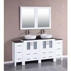 "72"" AW224BWLBG2S Double Vanity w/ Tempered Glass Top-White"
