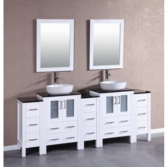 "84"" AW224BWLBG3S Double Vanity w/ Tempered Glass Top-White"
