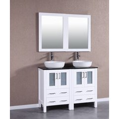 "48"" AW224BWLBG Double Vanity w/ Tempered Glass Top-White"