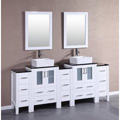 "84"" AW224CBEBG3S Double Vanity w/ Tempered Glass Top-White"