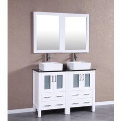 """48"""" AW224CBEPS Double Vanity w/ Tempered Glass Top-White"""