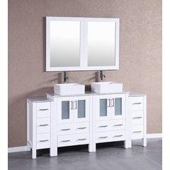 "72"" AW224CBECM2S Double Vanity w/ White Carrara Top-White"