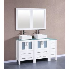 "60"" AW224CBEPS1S Double Vanity w/ Tempered Glass Top-White"
