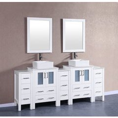 "84"" AW224CBEPS3S Double Vanity w/ Pheonix Stone Top-White"