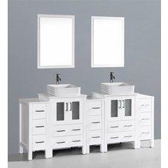 """84"""" AW224RC3S Double Vanity w/ Pheonix Stone Top-White"""