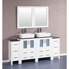 """72"""" AW224RCBG2S Double Vanity w/ Tempered Glass Top-White"""