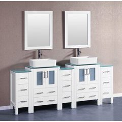 "84"" AW224RCCWG3S Double Vanity w/ Tempered Glass Top-White"
