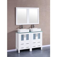 """48"""" AW224RCCWG Double Vanity w/ Tempered Glass Top-White"""