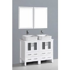 """48"""" AW224RC Double Vanity w/ Pheonix Stone Top-White"""