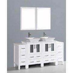 """72"""" AW224S2S Double Vanity w/ Pheonix Stone Top-White"""