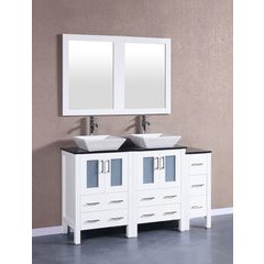 "60"" AW224SQBG1S Double Vanity w/ Tempered Glass Top-White"