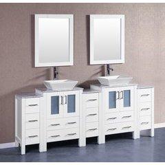 """84"""" AW224SQCM3S Double Vanity w/ White Carrara Top-White"""