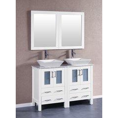 """48"""" AW224SQCM Double Vanity w/ White Carrara Top-White"""
