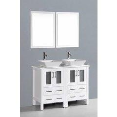 """48"""" AW224S Double Vanity w/ Pheonix Stone Top-White"""