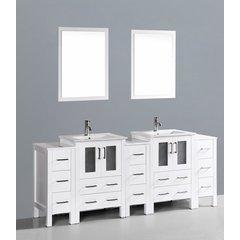 """84"""" AW224U3S Double Vanity w/ White Ceramic Top-White"""