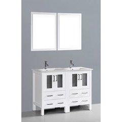 """48"""" AW224U Double Vanity w/ White Ceramic Top-White"""