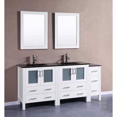 "72"" AW230BGU1S Double Vanity w/ Tempered Glass Top-White"