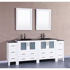 "84"" AW230BGU2S Double Vanity w/ Tempered Glass Top-White"