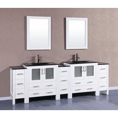 "96"" AW230BGU3S Double Vanity w/ Tempered Glass Top-White"
