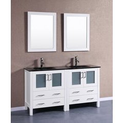 "60"" AW230BGU Double Vanity w/ Tempered Glass Top-White"