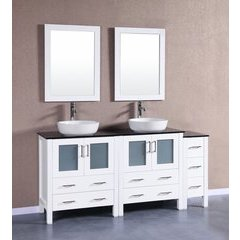 "72"" AW230BWLBG1S Double Vanity w/ Tempered Glass Top-White"