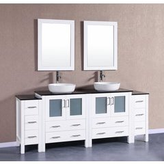 "84"" AW230BWLBG2S Double Vanity w/ Tempered Glass Top-White"