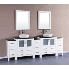 "96"" AW230BWLBG3S Double Vanity w/ Tempered Glass Top-White"