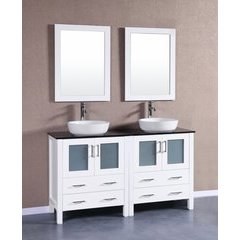 "60"" AW230BWLBG Double Vanity w/ Tempered Glass Top-White"
