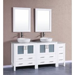 "72"" AW230BWLCM1S Double Vanity w/ White Carrara Top-White"