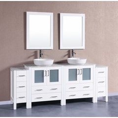 "84"" AW230BWLCM2S Single Vanity w/ White Carrara Top-White"