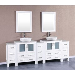 "96"" AW230BWLCM3S Double Vanity w/ White Carrara Top-White"