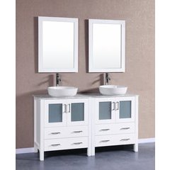 "60"" AW230BWLCM Double Vanity w/ White Carrara Top-White"