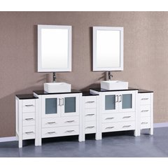 "96"" AW230CBEBG3S Double Vanity w/ Tempered Glass Top-White"