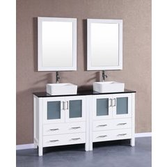 "60"" AW230CBEBG Double Vanity w/ Tempered Glass Top-White"